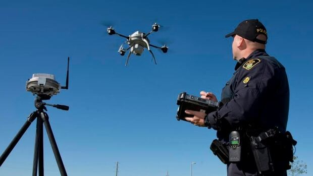 The OPP has started using drones to survey and document crime scenes and crash sites. Drones are also known as unmanned aerial vehicles, or UAV for short.