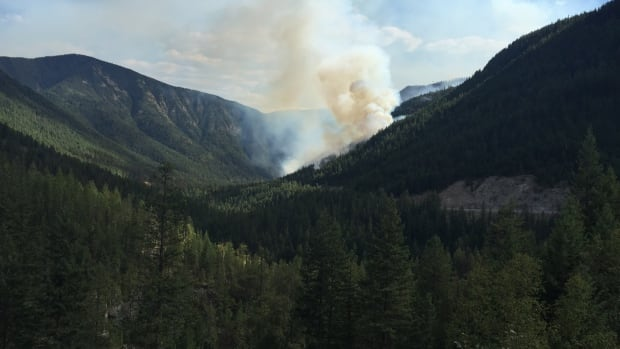 Smoke billows from a forest fire east of Grand Forks, B.C. The wildfire forced authorities to close Highway 3 between Christina Lake and Highway 3B.