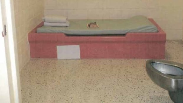 Inside a secure isolation cell with built-in bed and toilet/sink combination. While there is a general trend towards less use of secure isolation across the province, Ontario children's advocate says there is a pattern of high use observed in some facilities.
