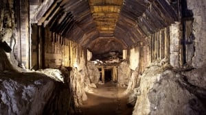 This photo from March 2012 shows a part of a subterranean system built by Nazi Germany in what is today Gluszyca-Osowka, Poland. According to Polish lore, a Nazi train loaded with gold and weapons vanished into a mountain at the end of World War II, as the Germans fled the Soviet advance.