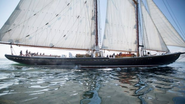 The Bluenose II sails in Lunenburg Harbour after a tour.