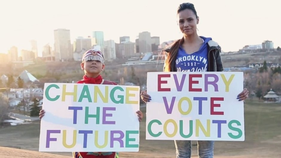 Still from music video produced to encourage Indigenous Peoples to vote,  by Young Medicine featuring Trent Agecoutay.