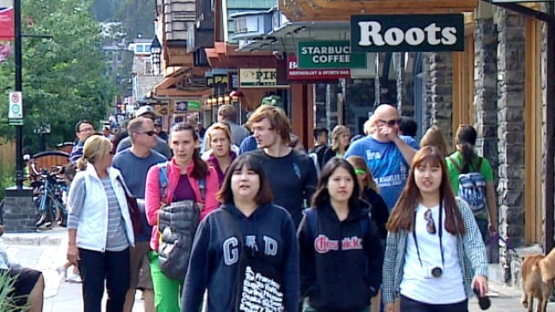 Tourists were hitting the streets of Banff in droves this summer.