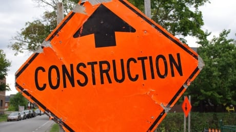Road construction sign in Windsor