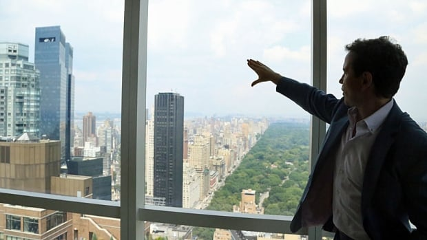 Manhattan real estate agent Brian Lewis points out the south-facing view of Central Park from inside the $8.95-million condo he's selling for actor Christopher Meloni, one of the stars of TV's Law & Order: Special Victims Unit.