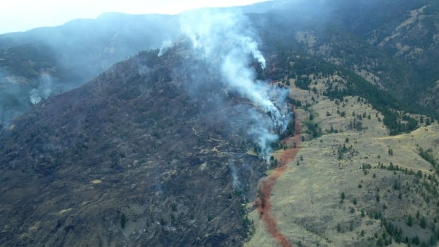 The district says the evacuation alert has been expanded due to the potential of increased winds and wildfire growth in the uplands of Kobau Mountain.