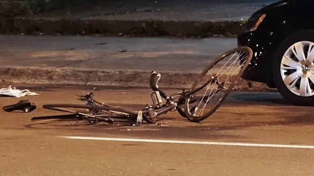 The bicycle the 27-year-old cyclist was riding when he was hit by a vehicle.