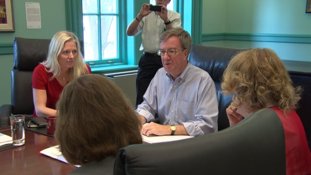 Mayor Jim Watson met with local Liberal candidates on Aug. 20, 2015.