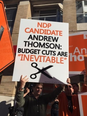 Liberal protestors crash NDP event in Eglinton-Lawrence