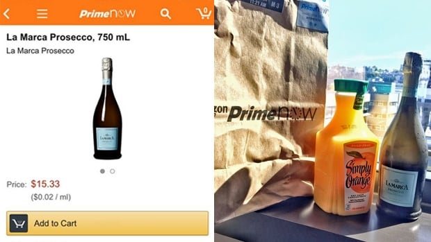 Prime Now customers are sharing photos of the alcohol products they've ordered after recieving them at home in less than an hour.