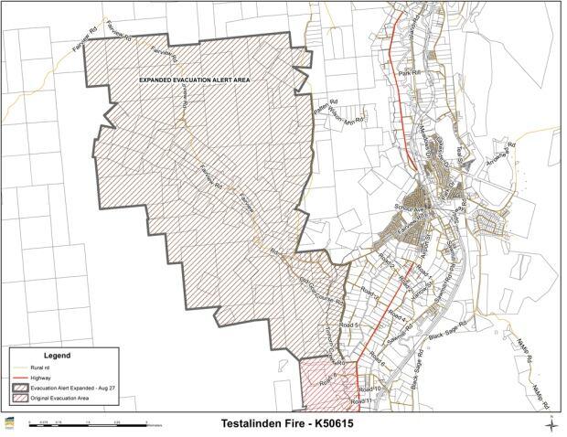 Testalinden Creek Wildfire Evacuation Alert map 2 aug 2015