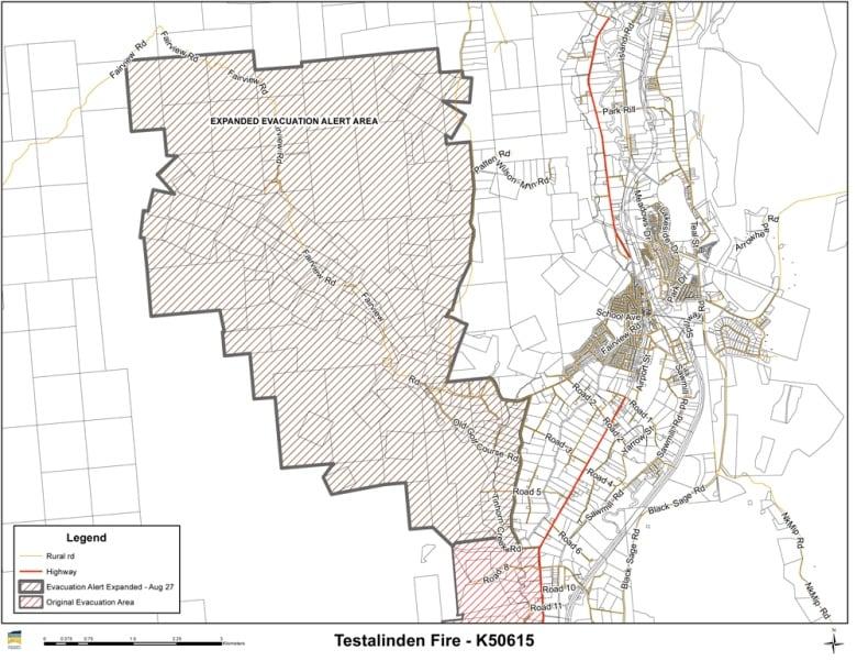 Lane Fire Map.B C Wildfires Testalinden Creek Evacuation Alert Expanded Near