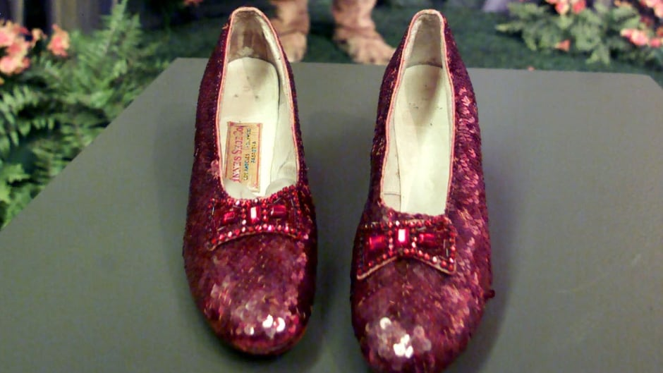 The original ruby slippers worn by Judy Garland in The Wizard of Oz.