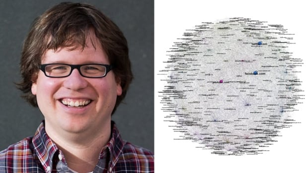 University of Waterloo professor Ian Milligan is one of the researchers behind WebArchives.ca, a searchable portal of old and deleted political websites. On the right is a visual representation of all of the links from 50 political parties and political interest groups in the database. The links were generated from archived web content from October 2005 to March 2015.