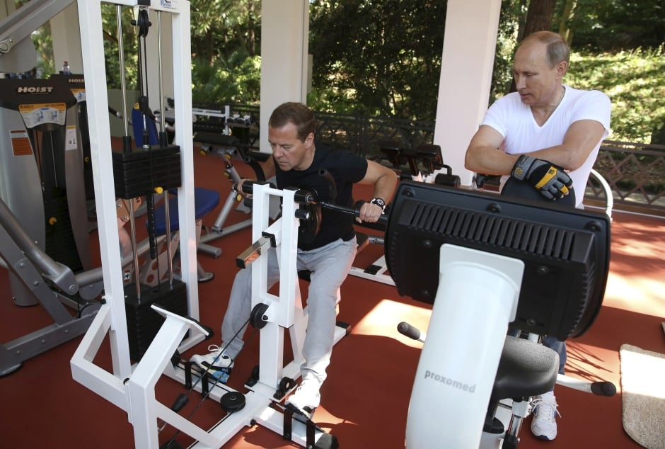 RUSSIA-Super PUTIN Dmitry Medvedev Aug 30 2015 work out