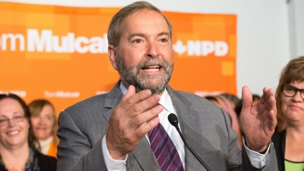NDP Leader Tom Mulcair addresses New Democratic Party supporters in Saskatoon on Aug. 31. An NDP government is hard to imagine without significant support from the home of Tommy Douglas.