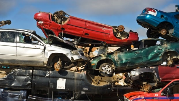 A selection of derelict vehicles at Iqaluit's dump. While the territory mulls adding an import fee, the City of Iqaluit is considering increasing its end of life vehicle fee from $200 to $1,000.