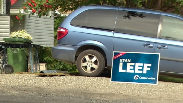 This campaign sign touting Conservative incumbent Ryan Leef is still standing. Two large signs and about 10 other lawn signs were damaged about a week ago in the Mayo Road cut-off area.