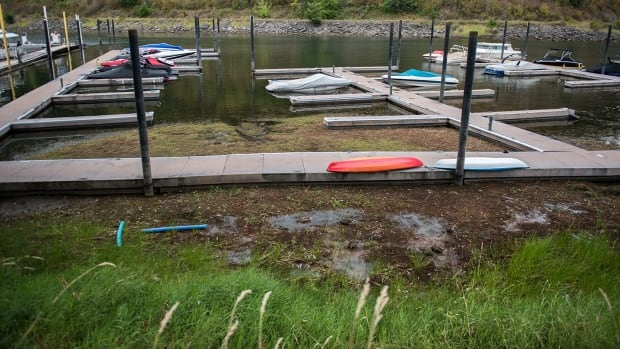 This dock on the Sicamous Channel has lost a significant portion of its capacity.