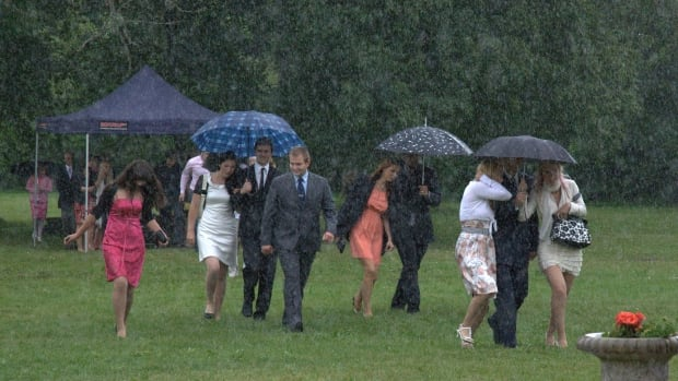 A wedding party gets drenched at an outdoor wedding. It was a similar story for several couples in the Lower Mainland this weekend.