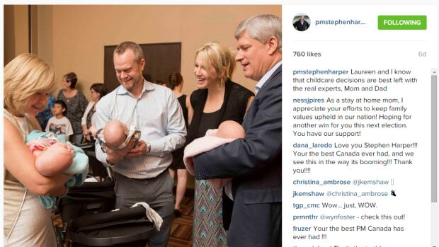 Each of Conservative Leader Stephen Harper's three sponsored posts focuses on child care and includes the line, 'Laureen and I know that childcare decisions are best left with the real experts, Mom and Dad.' Comments critical of the Conservatives have disappeared.