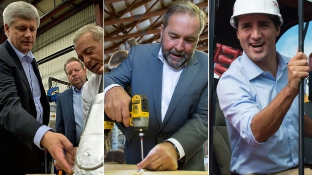 Conservative Leader Stephen Harper, left, NDP Leader Tom Mulcair, centre, and Liberal Leader Justin Trudeau have all made the economy the central issue of the current election campaign.