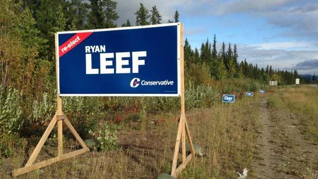 Carrie Boles was caught destroying Ryan Leef's election signs red-handed, by the politician himself. These undamaged signs are on the Alaska Highway.