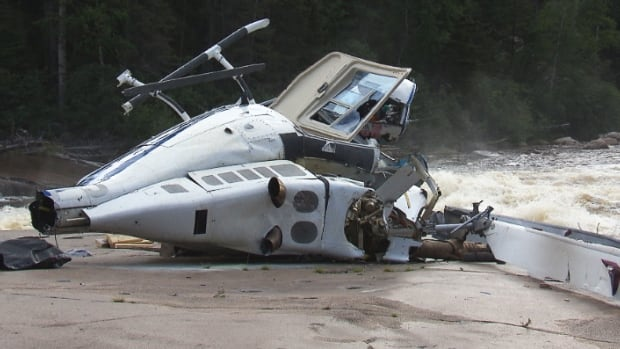 The helicopter went down about 30 kilometres from the Sept-Îles airport, in a rugged, wooded area.