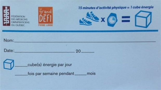 Quebec doctors prescription exercise
