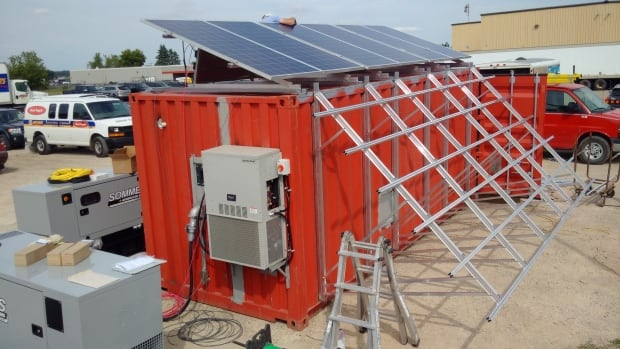 Shipping containers converted into mobile scientific labs will operate on solar and wind power.