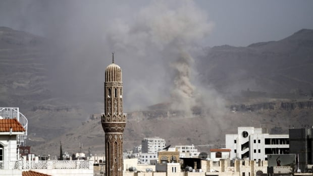 A Saudi-led coalition launched airstrikes against Houthi targets in Yemen on Saturday, a day after dozens of coalition soldiers were killed.