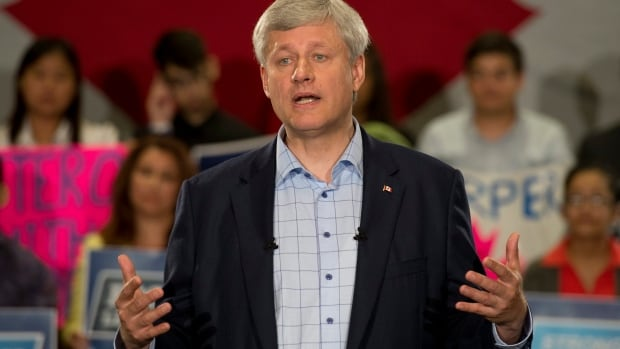 Conservative Leader Stephen Harper campaigned in Mississauga, Ont., Tuesday morning, an area where the party is hoping to retain hard-won seats.