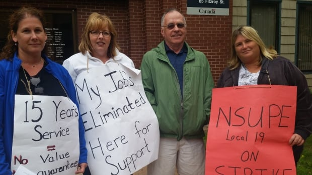 Charlottetown Canadian Blood Services workers began their strike on Monday.