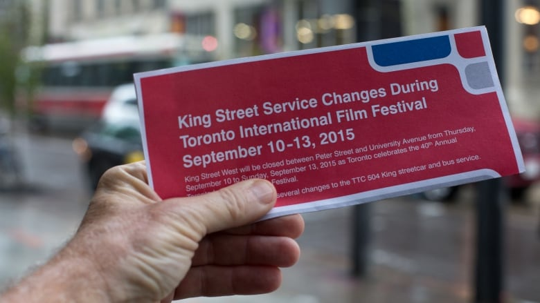 TTC Employees Were Handing Out Pamphlets This Week To Tell Customers About 504 Route Diversions During A TIFF Street Party David Donnelly CBC News