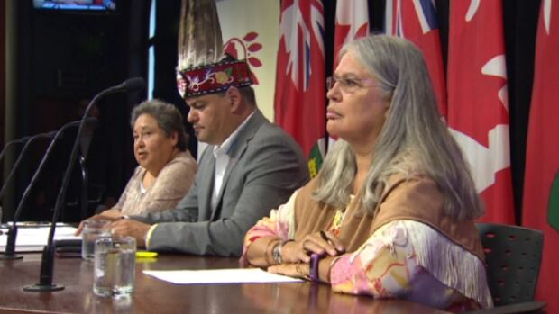 Ontario chiefs announce a campaign to pay for their own inquiry into missing and murdered indigenous women. From left: Deputy Chief Denise Stonefish, Regional Chief Isadore Day and Chief Ava Hill.