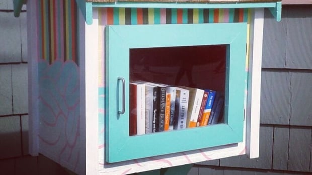 Halifax's first official Little Free Library was built in 2014 by Alieda Blandford, her carpenter husband, and other members of FYI Halifax. It still stands in it's original spot on Agricola Street.