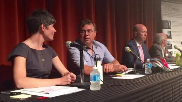 The candidates at last night's debate included (from left to right): Megan Leslie (NDP), Thomas Trappenberg (Green), Andy Fillmore (Liberal), and Allan Bezanson (Marxist-Leninist Party).