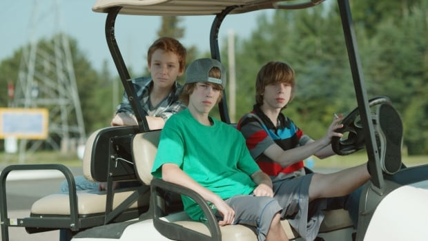 A still from the film Sleeping Giant, starring Jackson Martin alongside newcomers Reece Moffett and Nick Serino from Thunder Bay, Ont.