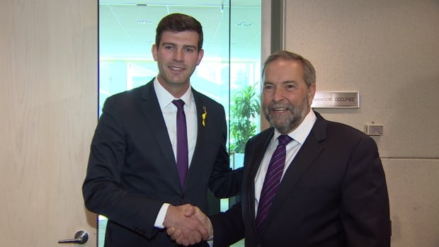 Edmonton Mayor Don Iveson and NDP Leader Tom Mulcair met Friday morning.