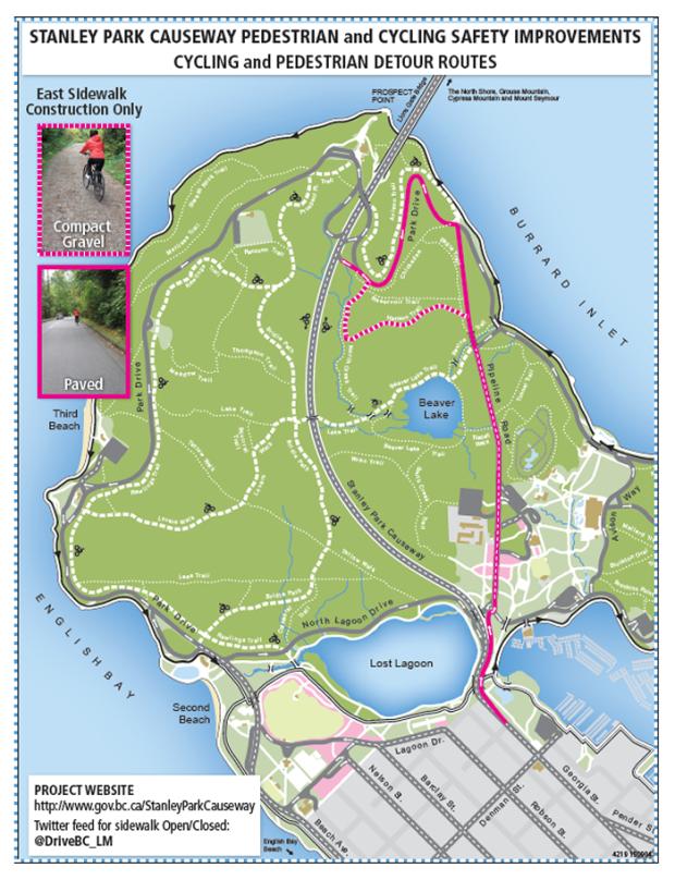 Stanley Park detour map