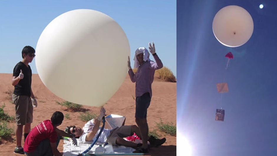 The 'Grand Canyon Stratospheric Balloon Team' with their weather balloon.