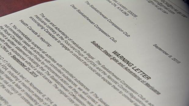 The letter sent to the Saskatchewan Compassion Club.