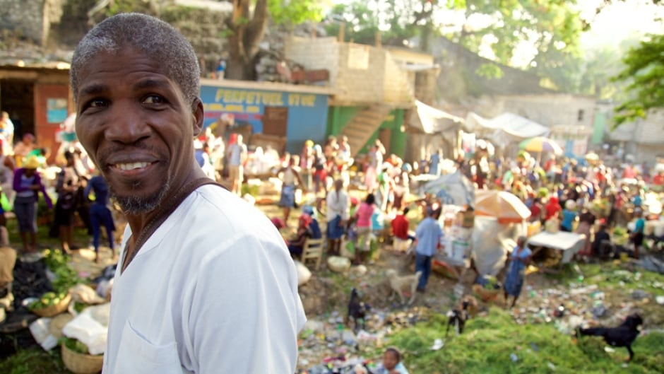 Harry Nicolas is a Haitian local food advocate. He's pictured here at a market in Port au Prince.