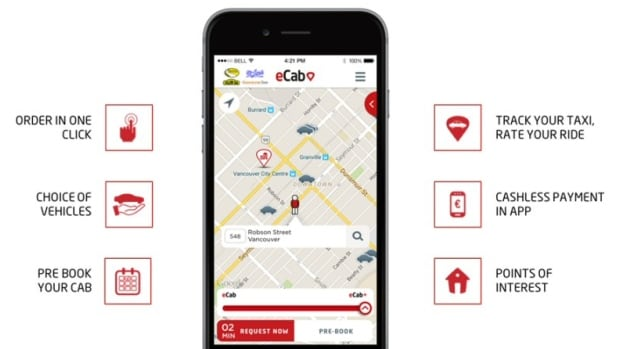 The eCab app launches in Vancouver on Wednesday. It is already in use in several cities in Europe.