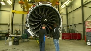 Techs inspect jet engine at GE Aviation Test and Research Facility in Winnipeg