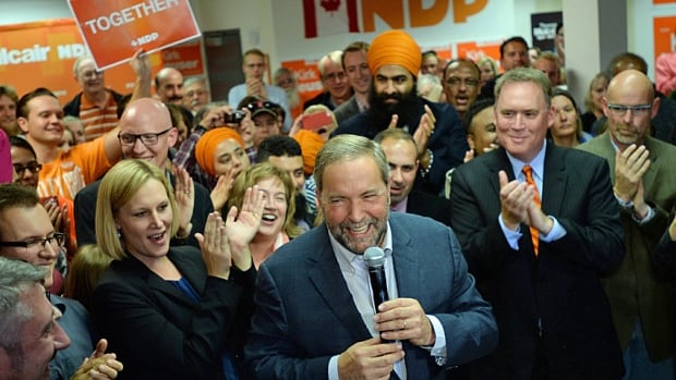 NDP Leader Tom Mulcair makes a campaign stop in Calgary on Sept. 15. The party's best hopes lie in Edmonton ridings.