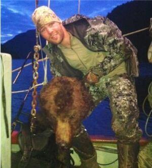 Clayton Stoner with bear head