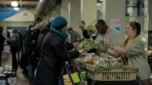 Distribution of food at the Welcome Hall Mission food bank