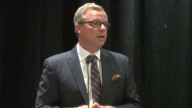 Saskatchewan Premier Brad Wall speaking at a conference in Regina Thursday.