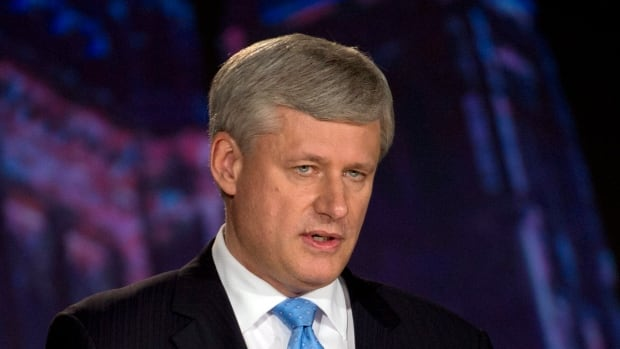 Conservative Leader Stephen Harper takes part in the Globe and Mail leaders' debate on Thursday, Sept. 17.